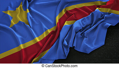 Democratic Republic of the Congo Flag Wrinkled On Dark...