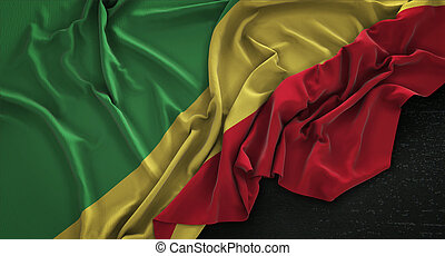 Republic of the Congo Flag Wrinkled On Dark Background 3D...