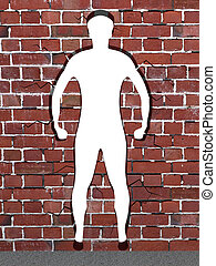 Destroyed brick wall - Mens silhouette in destroed brick...