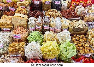 alimento, asiático, Mercado, Ho, chi, minh, ciudad,...