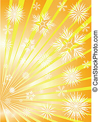 Golden fireworks from snowflakes