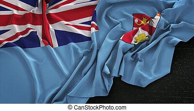 Fiji Flag Wrinkled On Dark Background 3D Render