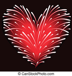 Fireworks from the heart - fireworks of red sparks in the...