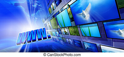 WWW - Blue internet background (Global and Communication...