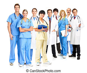 Doctors - Smiling medical people with stethoscopes Doctors...