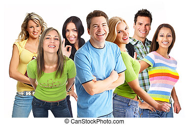 Happy funny people Isolated over white background