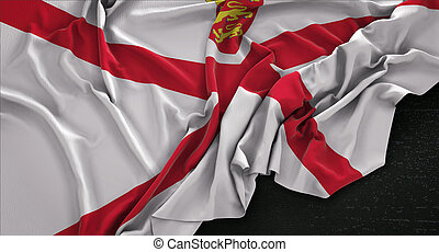 Jersey Flag Wrinkled On Dark Background 3D Render