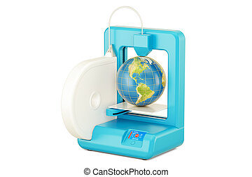 3D printer with Earth globe, 3D rendering isolated on white...