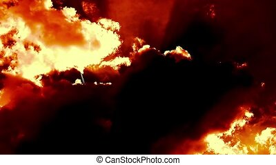 Burning Blowing Hell Fire Clouds Time Lapse Epic Cinematic