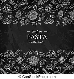 Italian pasta restaurant vector vintage illustration. Hand...