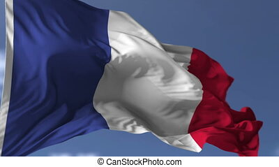Flag of France blowing on the wind, close up looped...