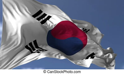 South Korea Flag - Flag of South Korea blowing on the wind,...
