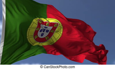 Flag of Portugal blowing on the wind, close up looped...