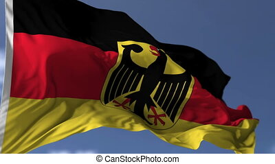 Flag of Germany blowing on the wind, close up looped...