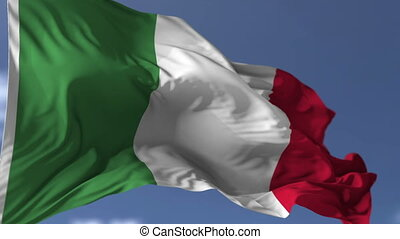 Flag of Italy blowing on the wind, close up looped...
