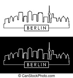 Berlin skyline. Linear style. - Berlin skyline. Linear...