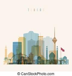 Tehran skyline detailed silhouette. - Transparent style...