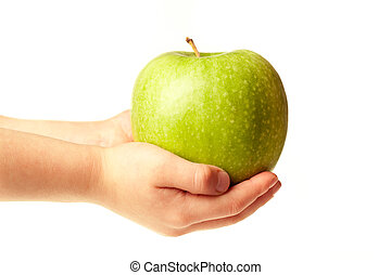 Apple in the hands - Big green ripe apple in the childrens...