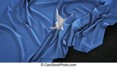 Somalia Flag Wrinkled On Dark Background 3D Render