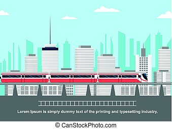 Subway above ground in front of cityscape with copyspace for...