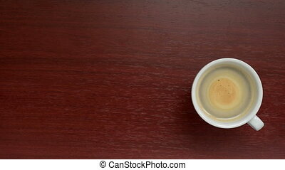 Cup coffee top view - Coffee. Cup coffee with copy space. A...
