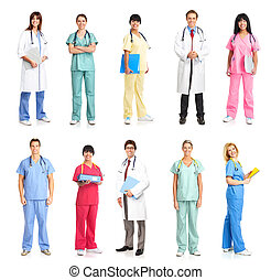 medical people - Smiling medical people with stethoscopes...