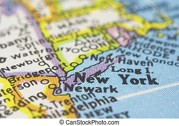 new york on map - new york close up on map, shallow depth of...
