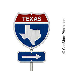 Road trip to Texas, Red, white and blue interstate highway...