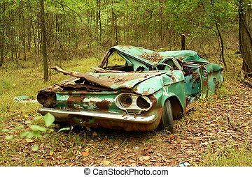 Abandoned car - A Abandoned car in the woods