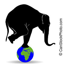 Black silhouette of an elephant