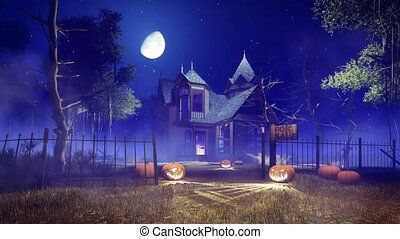 Spooky haunted house at Halloween night zoom in - Abandoned...