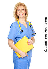 medical nurse - Smiling medical nurse with stethoscope....