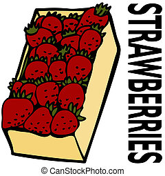 Box Strawberries - An image of a box strawberries