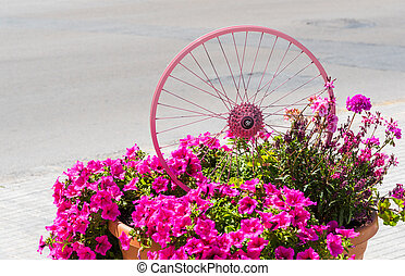 bike wheel painted in pink