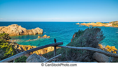 Wooden railing in Sardinia - Costa Paradiso in spring,...