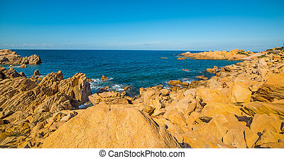 Yellow shore in Sardegna - Costa Paradiso in spring,...