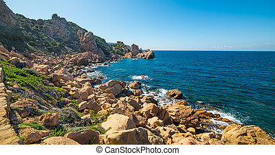 Clear sky over the coast - Costa Paradiso in spring,...