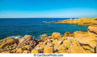 Sea and rocks in Sardinia - Costa Paradiso in spring,...