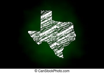 Texas State Map Chalk Style