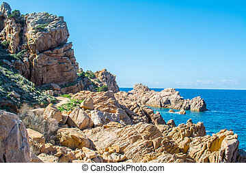Rocks and sea in Sardinia - Costa Paradiso in spring,...