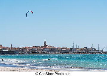 Kite surfer in Alghero, Sardinia