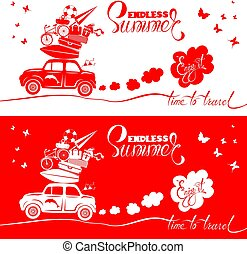 Seasonal card with small and cute retro travel car with luggage