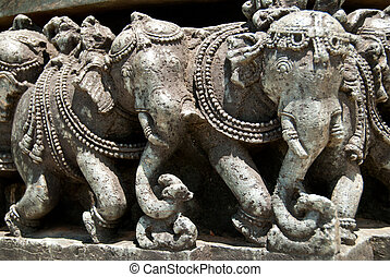 Indian elephants Sculptures at the Halebid temple near...