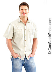 Man - Handsome man smiling Isolated over white background