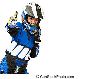 Biker woman - Attractive sexy woman in motoracer uniform...