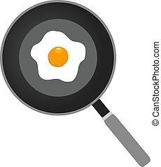 Frying Pan - vector frying pan with eggs