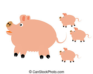 Pig with small pig - Big pig with three small pigs