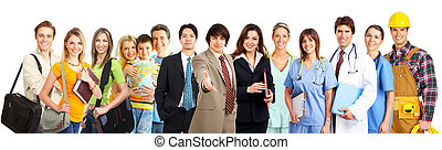 people - Large group of smiling people Over white background...