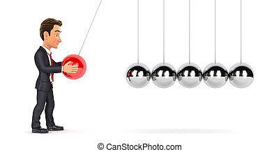 3d businessman playing with newton cradle, illustration with...
