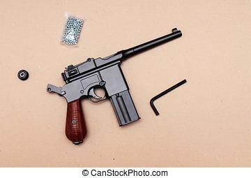 officer's,  Clip, posición, pistola, pistola, cargado
